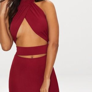 Burgundy body con dress !